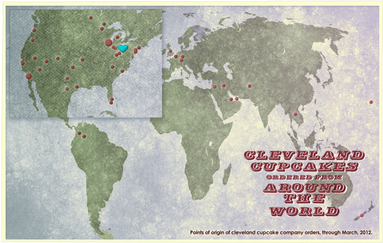 A map of points of origin of Cleveland Cupcake Company orders.